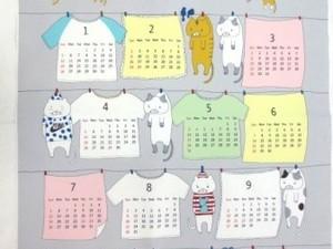カレンダー 生地 布のカレンダー 洗濯ネコ グレイ [CA2003]