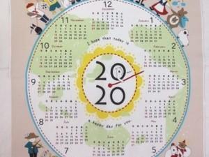 カレンダー 生地 布のカレンダー シロクマと世界の子供 ベージュ [CA2004]