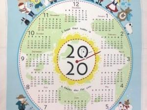 カレンダー 生地 布のカレンダー シロクマと世界の子供 ブルー [CA2005]