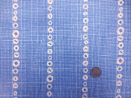 ラミネート 生地 ボタンチェック ダークブルー ビニルコーティング 108cm幅 [BN553]