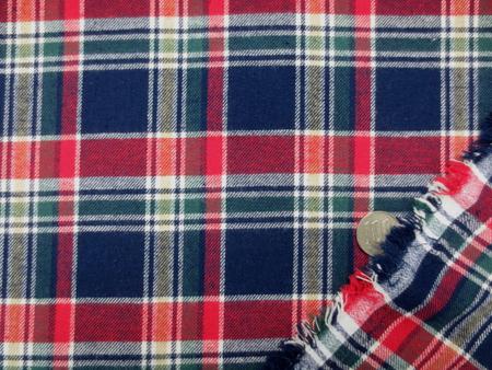 チェック 生地 ビエラ タータンチェック 赤 濃紺 グリーン/オフ白ライン 144cm幅 [FC812]