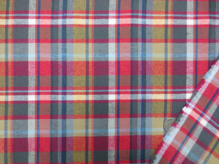 チェック 生地 ビエラ タータンチェック グレイ 黄 /赤 紺  ブルーライン 144cm幅 [FC814]
