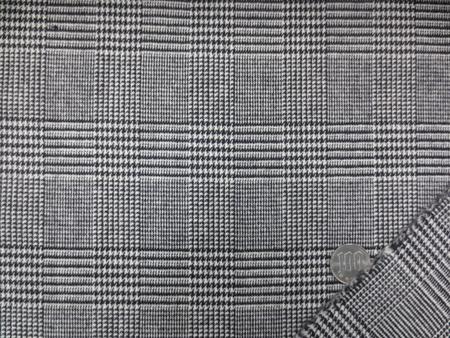 ウール 生地 PU混 グレンチェック 黒/オフ白 140m幅 [WO1133]