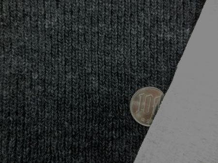 ニット 生地 ウール ローゲージ アゼニット 接結 杢濃グレイ 150cm幅 [JJ1338]