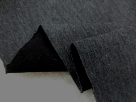 ニット 生地 リバーシブルニット 杢濃グレイ/黒 132cm幅 [JJ1342]