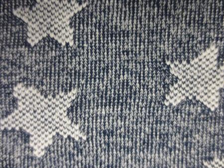 ニット 生地 裏毛 トレーナー地 星柄 杢ネイビー 208cm幅 [JJ1533]