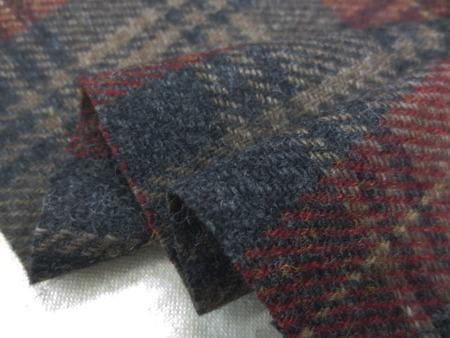 ウール 生地 綾織チェック ベージュライン/濃グレイ ダークレッド 138cm幅 [WO1252]