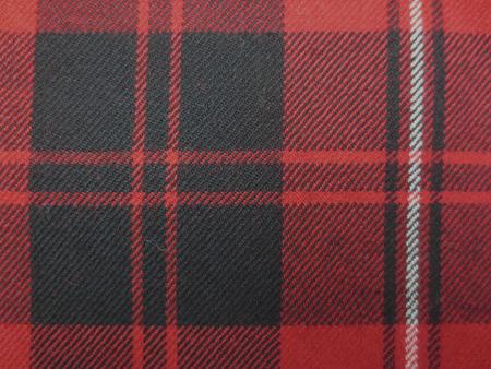 ウール 生地 綾織チェック 赤 白ライン/黒 赤地 150cm幅 [WO1253]
