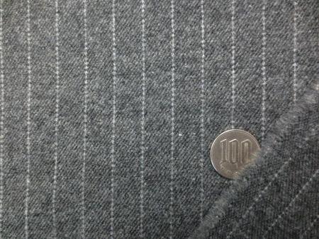 ウール 生地 ペンシルストライプ オフ白/杢グレイ地 140cm幅 [WO1254」]