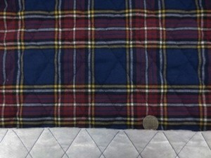 キルト 生地 コットン タータンチェック 赤 白 黄色ライン/濃紺地 キルト 110cm幅 [QT143]