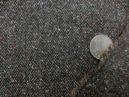 ウール 生地 ウール カラーネップ ヘリンボーン ブラウン 143cm幅 [WO1141]