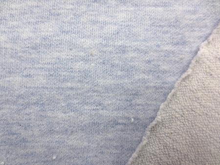 ニット 生地 裏毛 トレーナー地 ミニ裏毛 杢ブルー 170cm幅 [JJ1348]