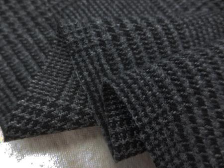 ポリエステル 生地 ウールライク グレンチェック 起毛 グレイ 144cm幅 [WO1265]