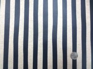 ラミネート 生地 ストライプ 濃紺/生成 ビニルコーティング 110cm幅 [BN534]