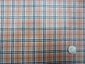 ラミネート 生地 チェック 赤 黒ライン/ベ^ジュ地 ビニルコーティング 110cm幅 [BN535]