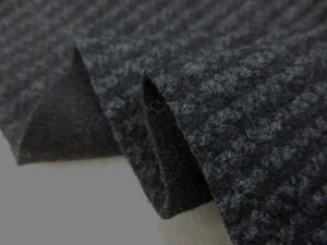 ニット 生地 イタリー製 リバーシブルニット 千鳥ライン 黒/濃グレイ 125m幅 [JJ1448]