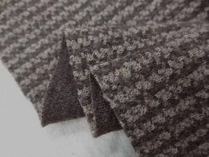ニット 生地 イタリー製 リバーシブルニット 千鳥ライン 濃ブラウン/モカブラウン 125m幅 [JJ1449]