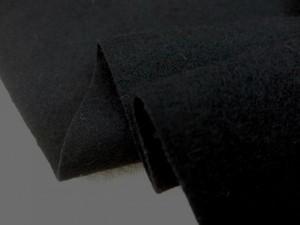 ウール 生地 ウール ソフトフラノ 黒 146cm幅 [WO1195]