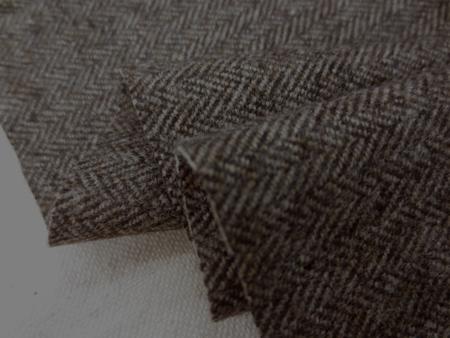 ウール 生地 ウール ヘリンボーン ミックスブラウン 150cm幅 [WO1203]