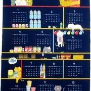 カレンダー 生地 布のカレンダー ネコ 紺 [CA2109]