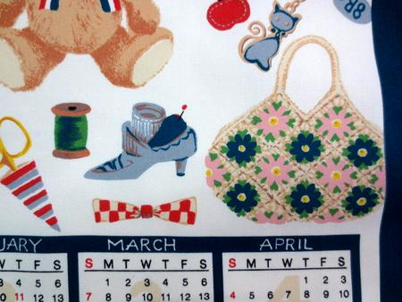 カレンダー 生地 布のカレンダー くま(小) COUNTRY BEAR 紺 [CA2112]