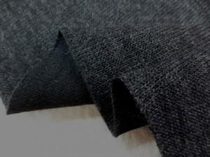 ニット 生地 ウール リバーシブルニット 杢濃グレイ/黒 145cm幅 [JJ1282]