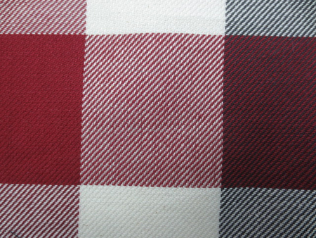 チェック 生地 ビッグブロックチェック 綾織 ダークレッド オフ白 黒 [FC824]
