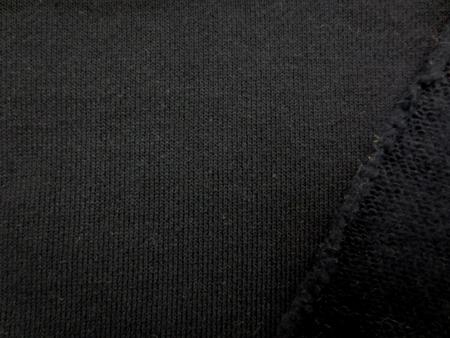 ニット 生地 裏毛 トレーナー地 黒 裏起毛 180cm幅 [JJ1360]