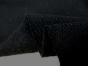 ニット 生地 裏毛 トレーナー地 黒(厚手)裏起毛 190cm幅 [JJ1457]