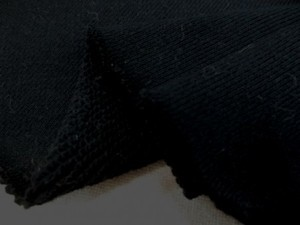 ニット 生地 裏毛 トレーナー地 黒 175cm幅 [JJ1459]