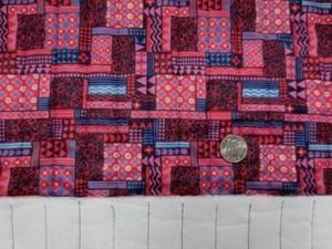 キルト 生地 ポリエステル タフタ エスニックプリント ピンク 赤系 120cm幅 [QT121]