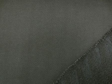 ニット 生地 ミニ裏毛 トレーナー地 カーキ 155cm幅 [JJ1370]