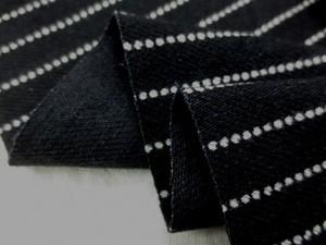 ストライプ 生地 ヒッコリー ドット ストライプ 黒 洗い加工 2mmオフ白/8mm黒 148cm幅 [SR689]