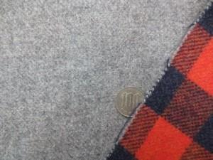 ウール 生地 ウールモッサ リバーシブル 杢グレイ/オレンジチェック 145mcm幅 [WO1175]