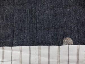 キルト 生地 コットン ダンガリー黒/ストライプ キルト113cm幅 [QT130]
