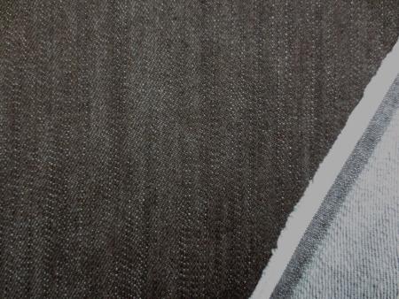 デニム 生地 ストレッチデニム 杢濃ブラウン 裏起毛 10オンス 118cm幅 [DE2085]